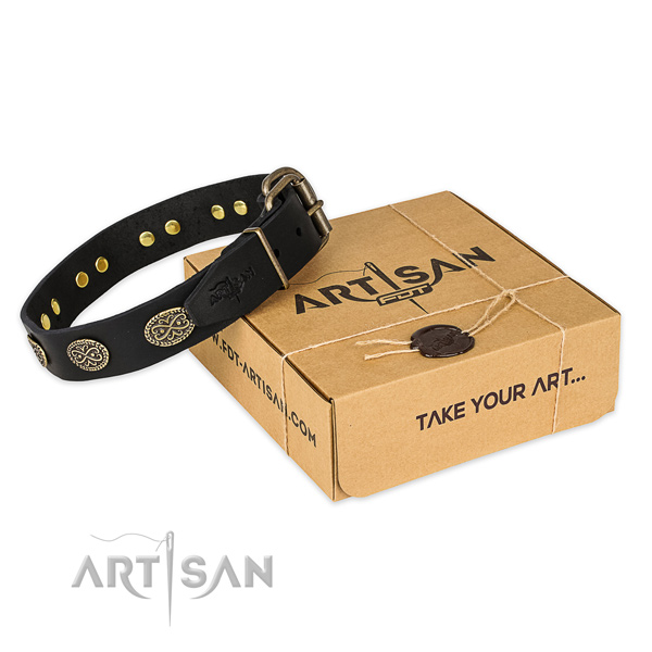 Durable fittings on full grain natural leather collar for your impressive four-legged friend