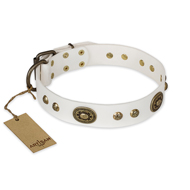 """Adorable Dream"" FDT Artisan White Leather dog Collar"