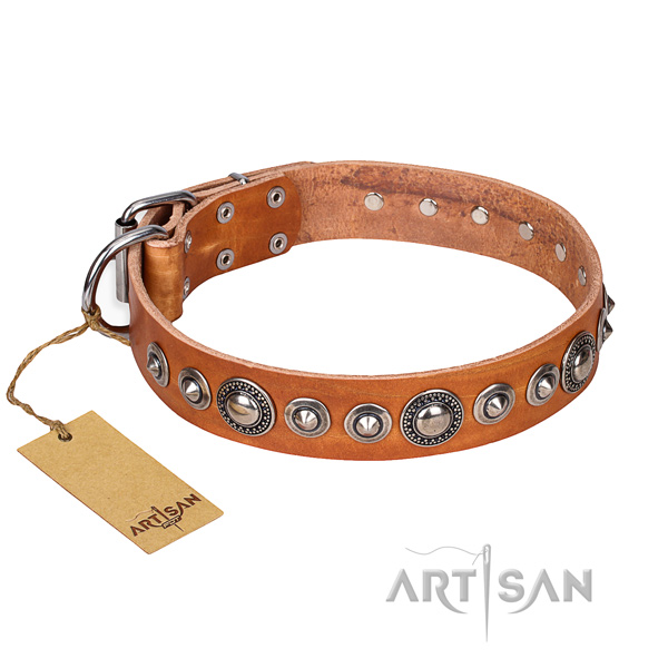 Leather dog collar made of flexible material with strong traditional buckle