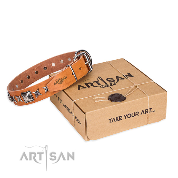 Comfortable wearing leather dog collar with decorations
