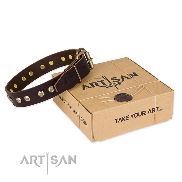 Rust-proof hardware on full grain genuine leather collar for your attractive pet