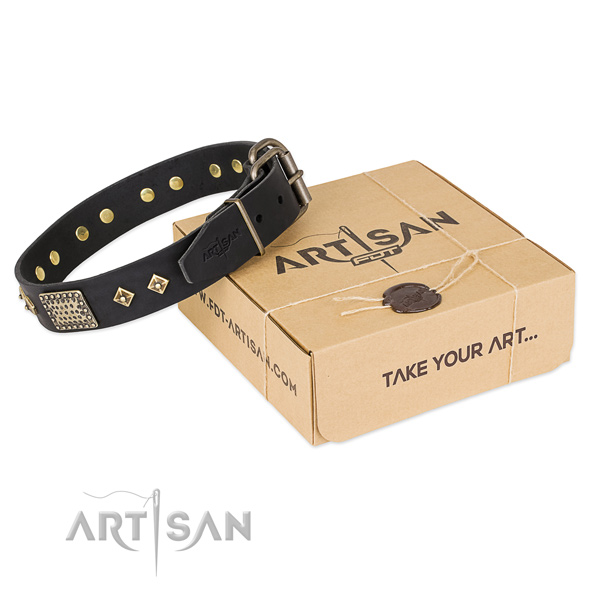 Easy to adjust full grain leather collar for your handsome dog
