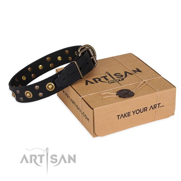 Corrosion resistant D-ring on full grain genuine leather collar for your attractive pet