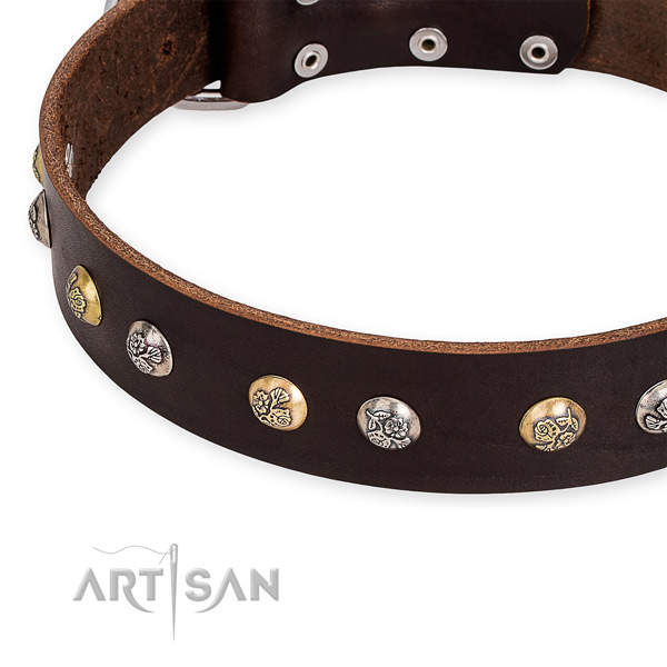 Full grain genuine leather dog collar with top notch rust-proof adornments
