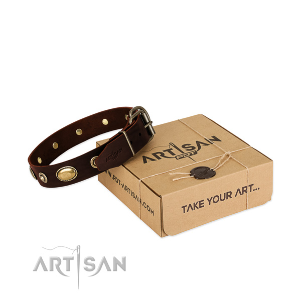 Rust resistant hardware on genuine leather dog collar for your four-legged friend