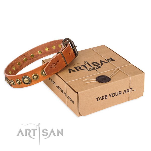 High quality leather dog collar handmade for handy use