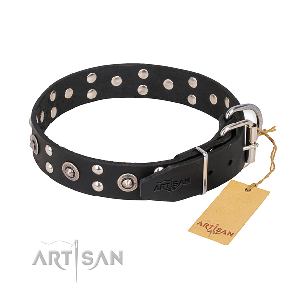 Rust-proof fittings on full grain natural leather collar for your impressive dog