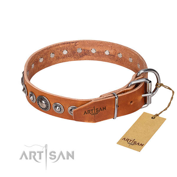 Full grain genuine leather dog collar made of reliable material with strong adornments