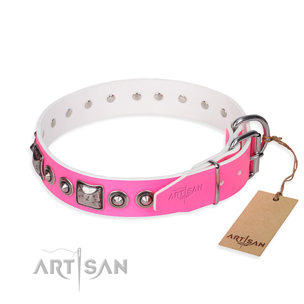 Durable full grain genuine leather dog collar handcrafted for stylish walking