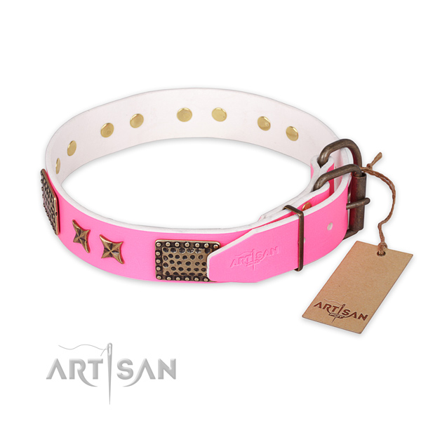 Strong buckle on full grain leather collar for your attractive doggie
