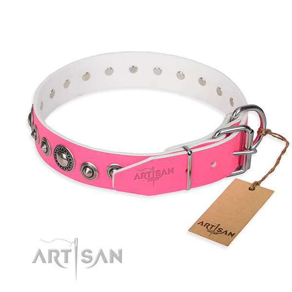 Full grain leather dog collar made of top notch material with rust resistant embellishments