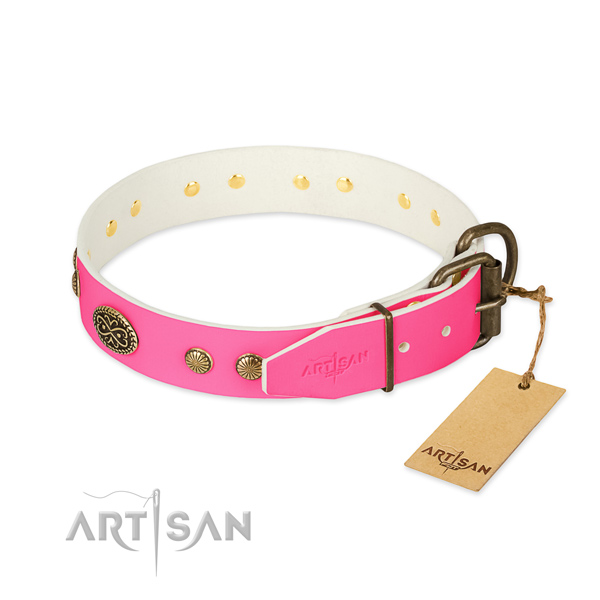 Corrosion resistant D-ring on full grain genuine leather dog collar for your dog
