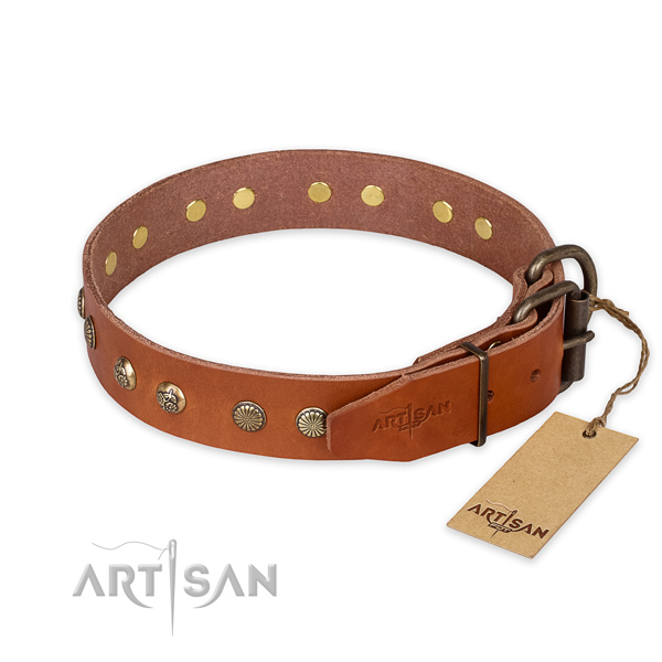 Reliable traditional buckle on full grain natural leather collar for your impressive doggie