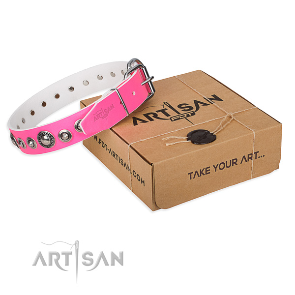 Leather dog collar made of top rate material with reliable traditional buckle