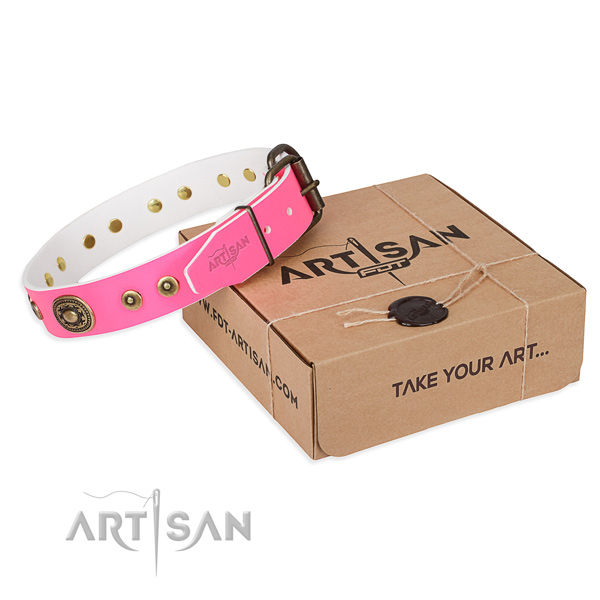 Genuine leather dog collar made of soft material with strong traditional buckle