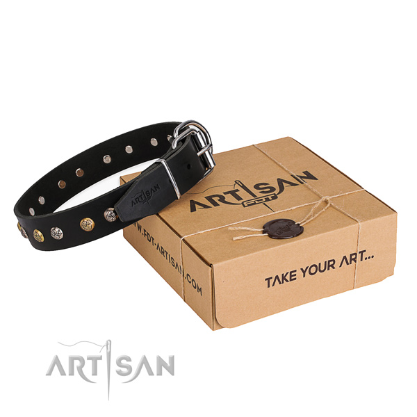 Soft full grain leather dog collar handcrafted for handy use