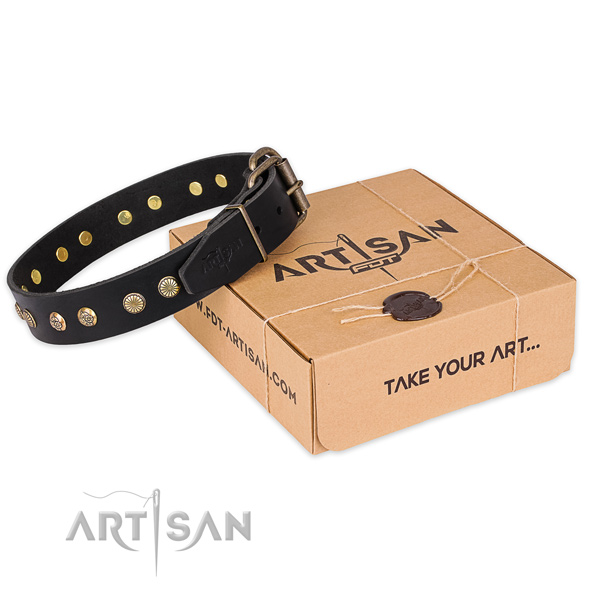 Reliable hardware on natural genuine leather collar for your handsome pet