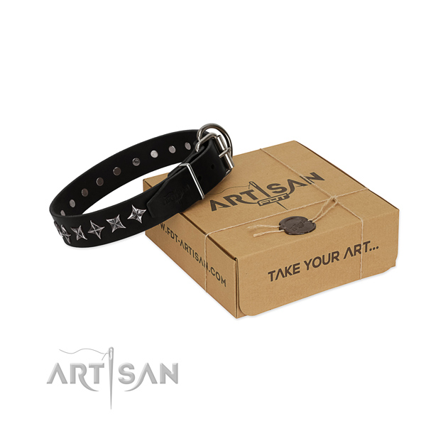 Handy use dog collar of durable natural leather with studs