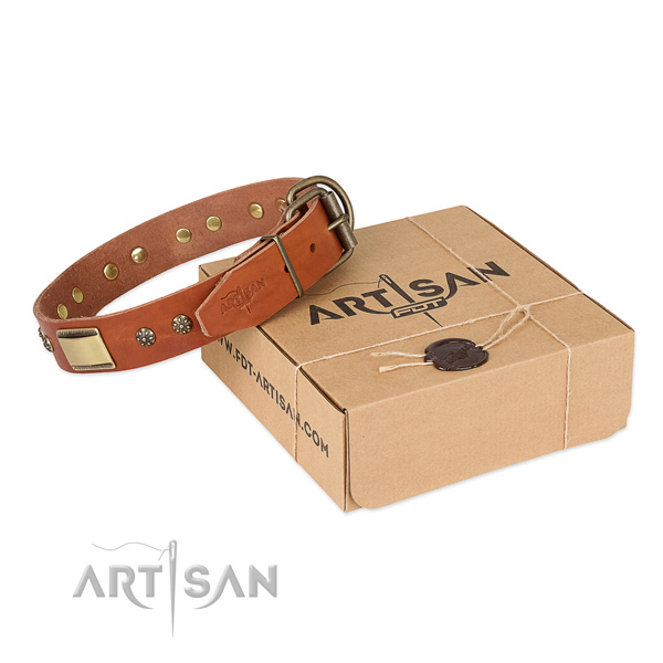 Adjustable full grain natural leather collar for your beautiful doggie