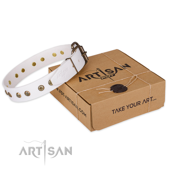 Durable hardware on genuine leather collar for your handsome canine
