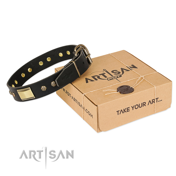 Easy to adjust leather collar for your handsome doggie