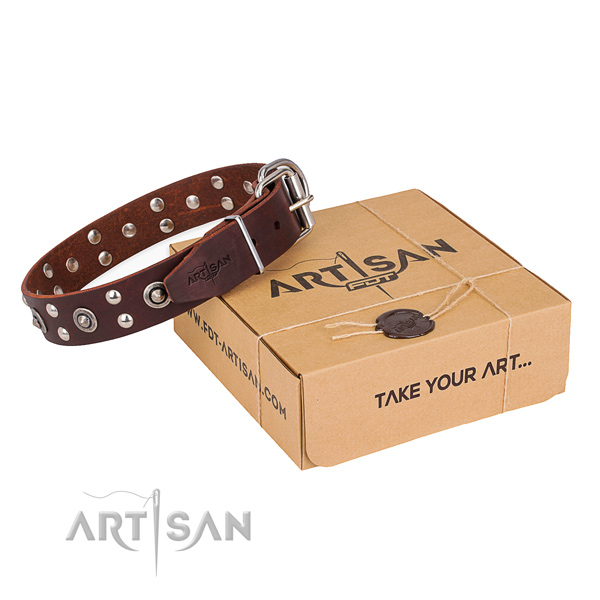 Durable traditional buckle on full grain genuine leather collar for your attractive doggie