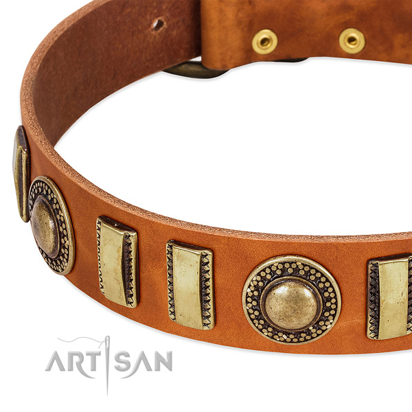 Flexible full grain leather dog collar with durable traditional buckle