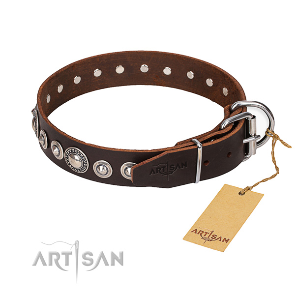 Full grain genuine leather dog collar made of gentle to touch material with durable buckle
