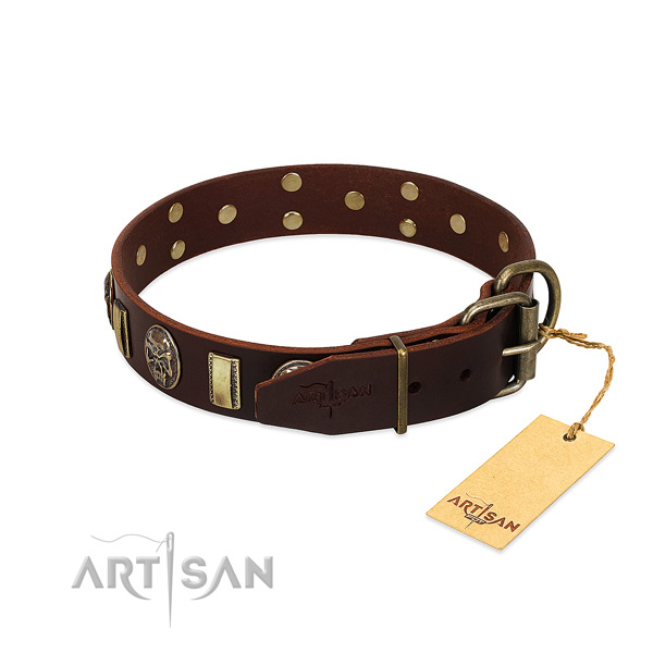 Full grain genuine leather dog collar with durable buckle and decorations