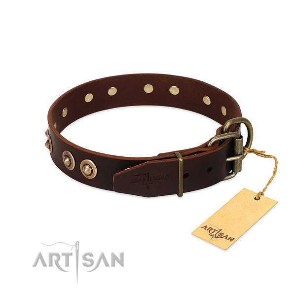 Rust resistant buckle on full grain genuine leather dog collar for your four-legged friend