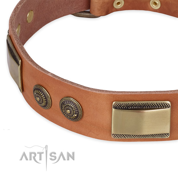 Rust-proof adornments on full grain genuine leather dog collar for your four-legged friend