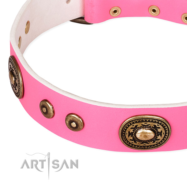 Full grain genuine leather dog collar made of reliable material with studs