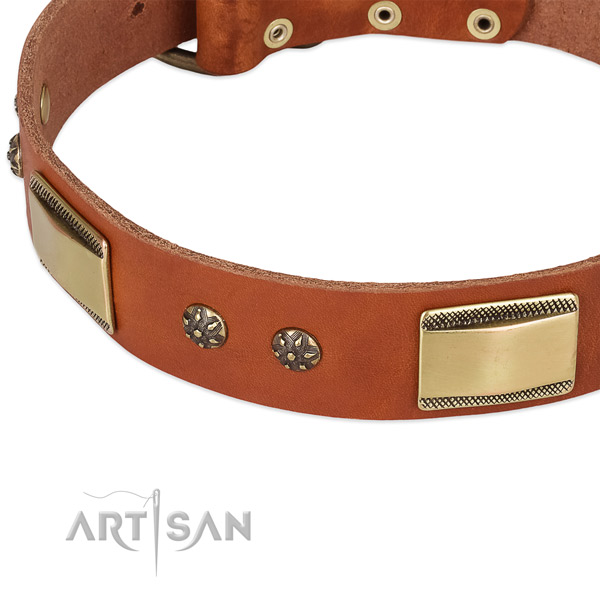 Rust resistant buckle on full grain leather dog collar for your doggie