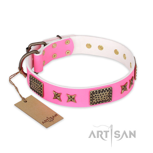 Easy to adjust genuine leather dog collar with reliable traditional buckle
