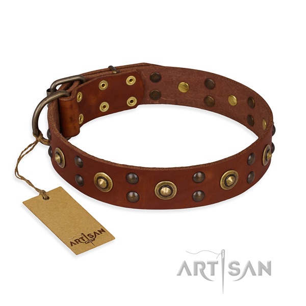 Easy adjustable leather dog collar with rust-proof buckle
