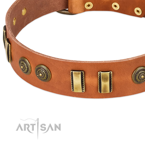 Rust resistant buckle on full grain leather dog collar for your dog