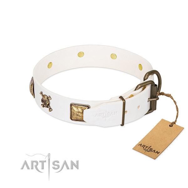 Unique full grain natural leather dog collar with reliable embellishments