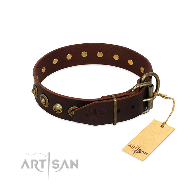 Full grain leather collar with unique adornments for your doggie