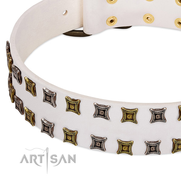 Soft full grain natural leather dog collar for your impressive four-legged friend
