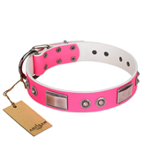 """Lady's Whim"" FDT Artisan Pink Leather dog Collar with Plates and Spiked Studs"