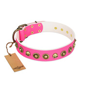 """Pawty Time"" FDT Artisan Pink Leather dog Collar with Decorative Skulls and Brooches"