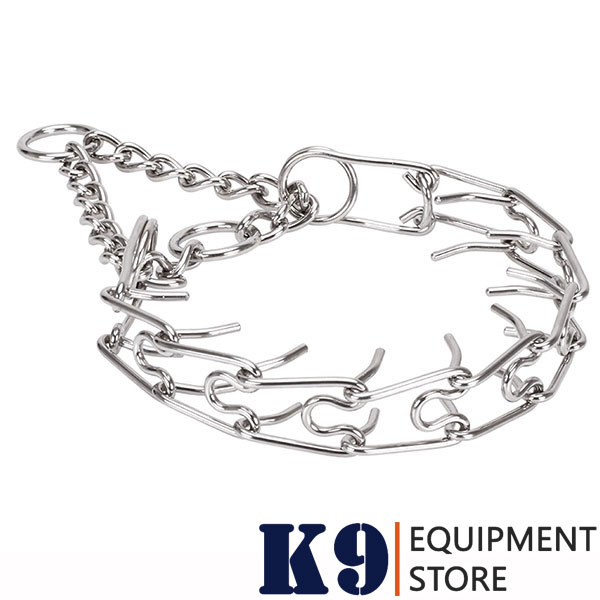 Corrosion proof stainless steel dog prong collar with removable prongs