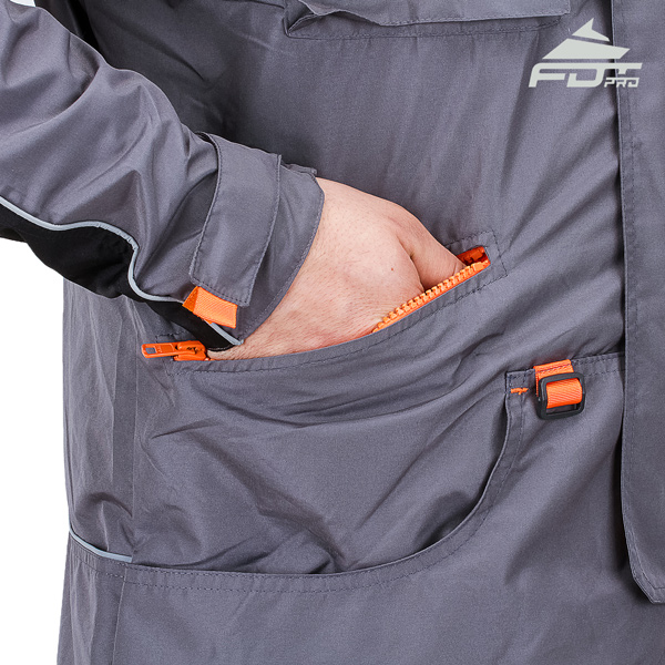 Grey Color FDT Professional Design Dog Trainer Jacket with Useful Side Pockets