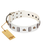 """Mysterious Voyage"" FDT Artisan White Leather dog Collar with Engraved Plates and Skulls"