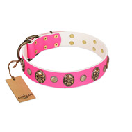 """Miss Pinky Fluff"" FDT Artisan Pink Leather dog Collar Adorned with Conchos and Medallions"