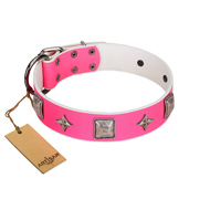 """Star World"" Gorgeous FDT Artisan Pink Leather dog Collar with Silver-Like Adornments"