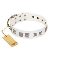 """Mister Perfection"" Designer Handmade FDT Artisan White Leather dog Collar"