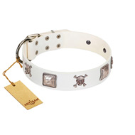 """Pirate Sloop"" Handmade FDT Artisan Designer White Leather dog Collar with Crossbones"
