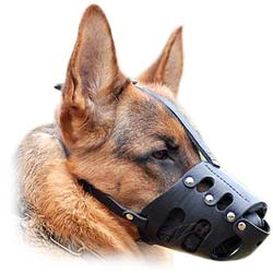 Anti-Biting Durable Leather K9 Dog Muzzle