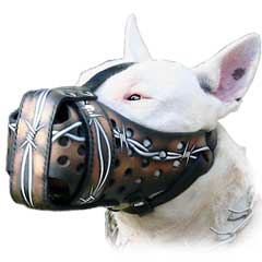Muzzle Attack Comfortabe Exclusively Barbed Wire  Painted Leather Police Dogs Muzzle